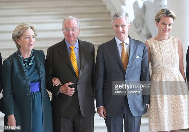 Queen Paola King Albert II Prince Philippe and Princess Mathilde of Belgium meet Regional Ministers at Laeken Castle on July 12 2013 in Brussels...