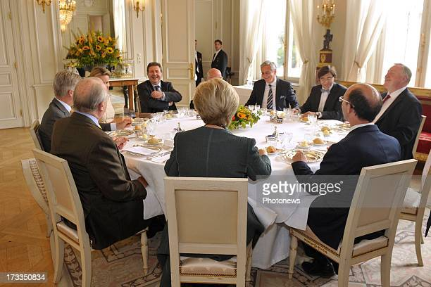 Queen Paola King Albert II Prince Philippe and Princess Mathilde of Belgium receive Regional Ministers including Flemish Minister President Kris...