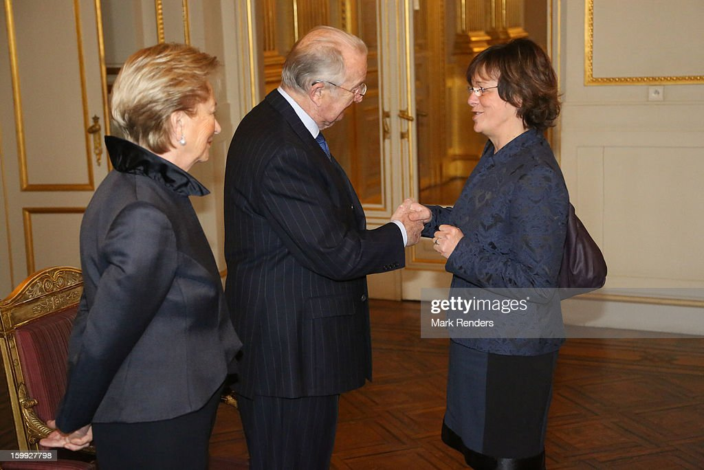 Queen Paola, King Albert of Belgium and Vice President of the European Parliament Isabelle Durant attend a New Year reception for the European Commission Officials at Palais de Bruxelles on January 23, 2013 in Brussel, Belgium.