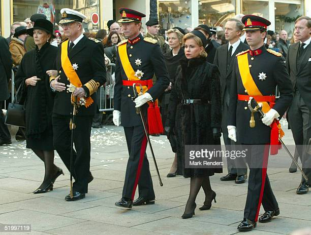Queen Paola, King Albert, Prince Guillaume, Princess Sibilla and their son walk to the Cathedral for the funeral of the Grand Duchess Josephine...