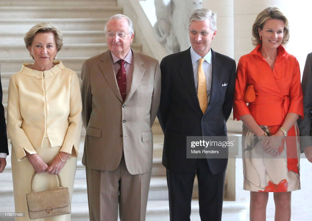Queen Paola, King Albert, Prince Philippe and Princess Mathilde of Belgium meet former Prime Ministers of Belgium at Laeken Castle on July 10, 2013 in Brussels, Belgium.