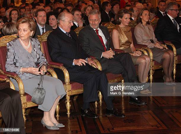 Queen Paola King Albert Prince Philippe Princess Mathilde Princess Claire and Prince Laurent of Belgium attend a reception for Country Officials at...