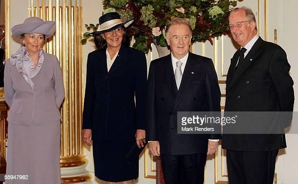 Queen Paola Mrs Maria Jose Ritta President Sampaio and King Albert pose for the official photo at the Royal Palace on October 18 2005 in Brussels The...