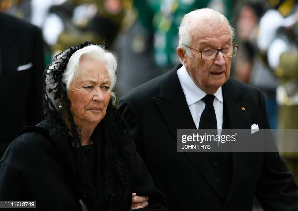 Queen Paola of Belgium and King Albert II of Belgium arrive for the funeral ceremony for Jean d'Aviano Grand Duke of Luxembourg Saturday 04 May 2019...