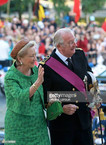 Queen Paola of Belgium and King Albert II of Belgium arrive for the Te Deum mass on the occasion of Belgian National Day at the Saint Michael and St...