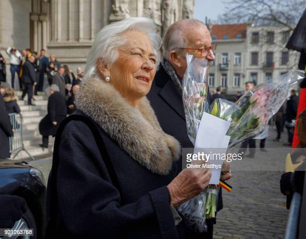 Queen Paola of Belgium and King Albert II of Belgium attend a mass commemoration at Our Lady Church on February 20 2018 in Brussels Belgium