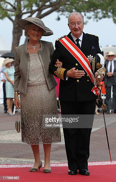Queen Paola of Belgium and King Albert II of Belgium attend the religious ceremony of the Royal Wedding of Prince Albert II of Monaco to Princess...