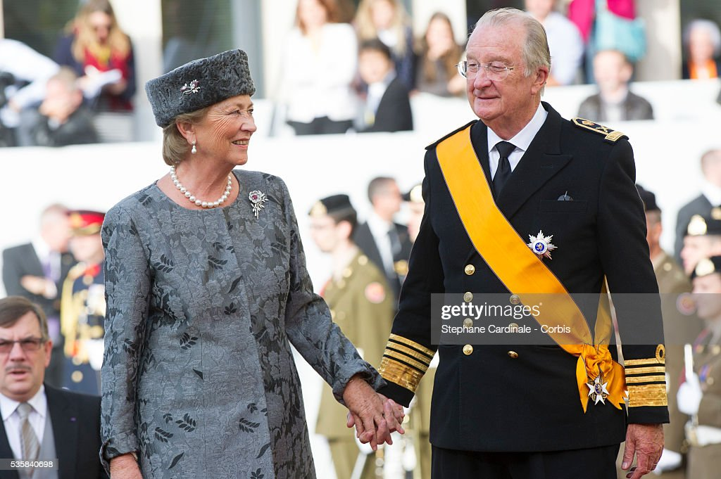 Queen Paola of Belgium and King Albert II of Belgium attend the wedding ceremony of Prince Guillaume of Luxembourg and Princess Stephanie of Luxembourg at the Cathedral of our Lady of Luxembourg, in Luxembourg.