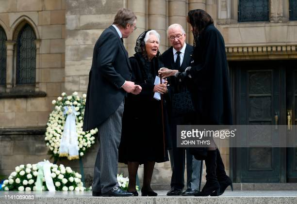 Queen Paola of Belgium and King Albert II of Belgium leaves NotreDame Cathedral in Luxembourg City Grand Duchy of Luxembourg on May 4 after the...