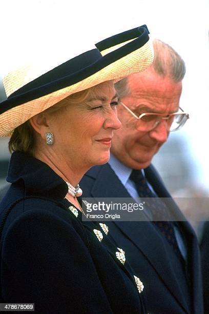 Queen Paola of Belgium and King Albert of Belgium receive Pope John Paul II as he arrives at the airport for his official visit to Belgium on June 4...