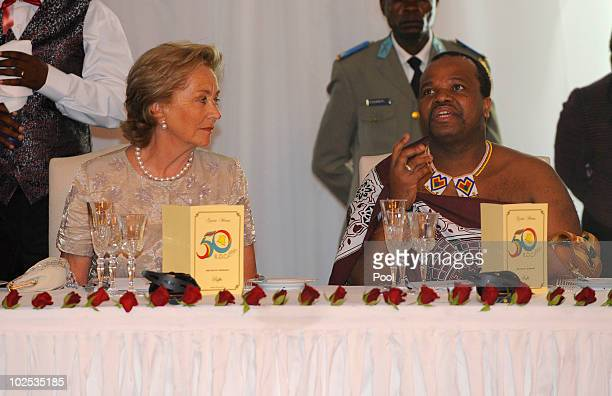 Queen Paola of Belgium and King Mswati III of Swaziland attend a gala dinner at Cite de l'Union Africaine on June 29 2010 in Kinshasa Democratic...