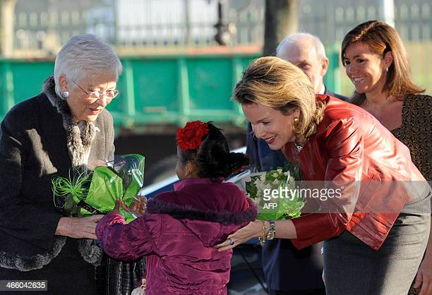 Queen Paola of Belgium and Queen Mathilde of Belgium arrive for the ceremony marking the takeover of Queen Mathilde of Belgium as honorary President...