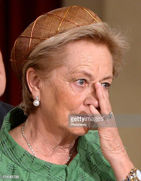 Queen Paola of Belgium appears emotional during the Abdication Ceremony of King Albert II Of Belgium in favour of Prince Philippe at the Royal Palace...