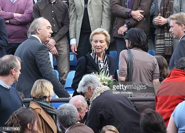 Queen Paola of Belgium assists the The Name Of The Rose Theatre Premiere at the Villersla Ville Abbey on July 15 2011 in VillerslaVille Belgium