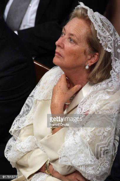 Queen Paola of Belgium attends a canonisation ceremony held by Pope Benedict XVI at St Peter's Basilica on October 11 2009 in Vatican City Vatican