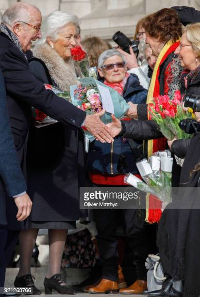 Queen Paola of Belgium attends a mass commemoration at Our Lady Church on February 20 2018 in Brussels Belgium