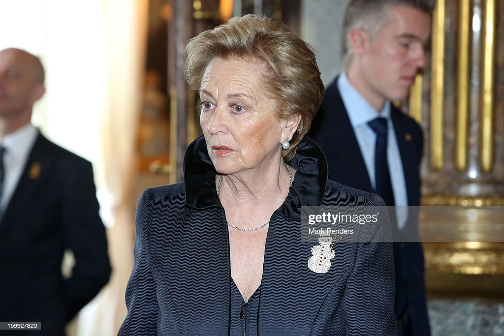 Queen Paola of Belgium attends a New Year reception for the European Commission Officials at Palais de Bruxelles on January 23, 2013 in Brussel, Belgium.