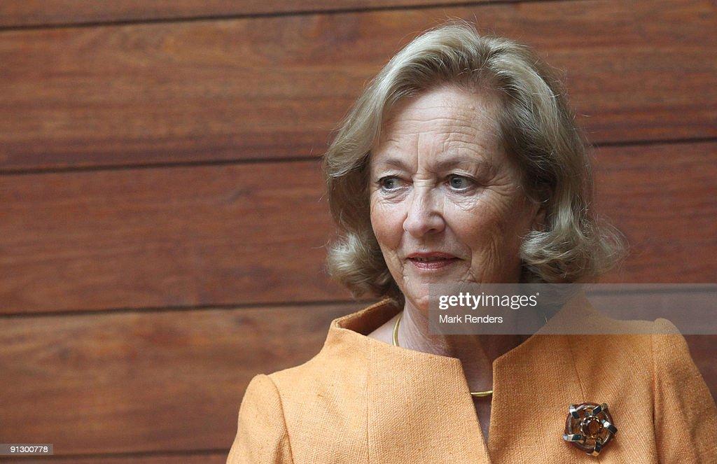 """Queen Paola Visits Exhibition """"Delvaux, 180 ans de Luxe Belge"""""""