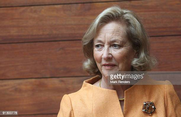 Queen Paola of Belgium attends an exhibition celebrating 180 years of Delveaux at the Modemuseum on October 1 2009 in Antwerpen Belgium