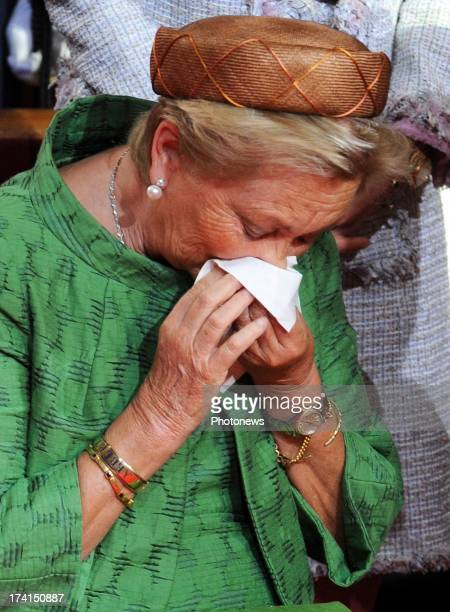 Queen Paola of Belgium during the Abdication Of King Albert II Of Belgium Inauguration Of King Philippe at the Cathedral of St Michael and St Gudula...