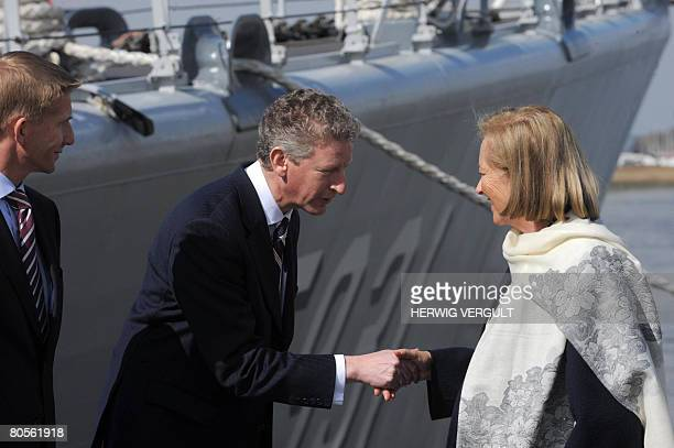 Queen Paola of Belgium is welcomed by Defence Minister Pieter De Crem and Dutch Defense sercretary of state Jack De Vries at the inauguration of...