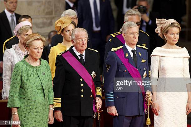 Queen Paola of Belgium King Albert II of Belgium Crown Prince Philippe of Belgium and Princess Mathilde of Belgium attend the Te Deum mass on the...