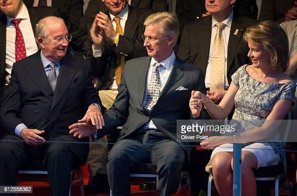 Queen Paola of Belgium King Albert II of Belgium Crown Prince Philippe of Belgium and Princess Mathilde of Belgium attend the 'Bal National' an...