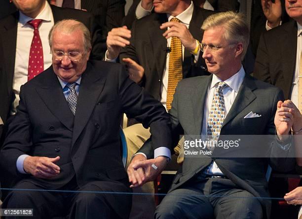 Queen Paola of Belgium, King Albert II of Belgium, Crown Prince Philippe of Belgium and Princess Mathilde of Belgium attend the 'Bal National', an...
