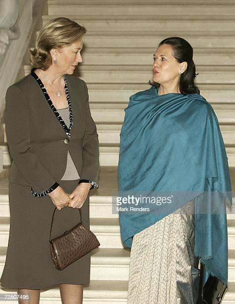 Queen Paola of Belgium poses with India's Congress party leader Sonia Gandhi at the Laeken Castle November 11 2006 in Brussels Belgium