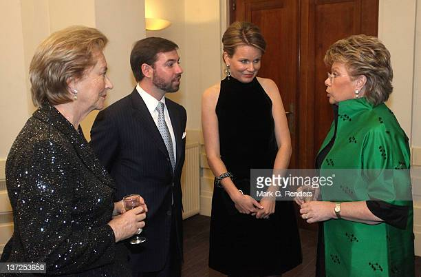 Queen Paola of Belgium Prince Guillaume of Luxembourg Princess Mathilde of Belgium and VicePresident of the European Commission Viviane Reding talk...
