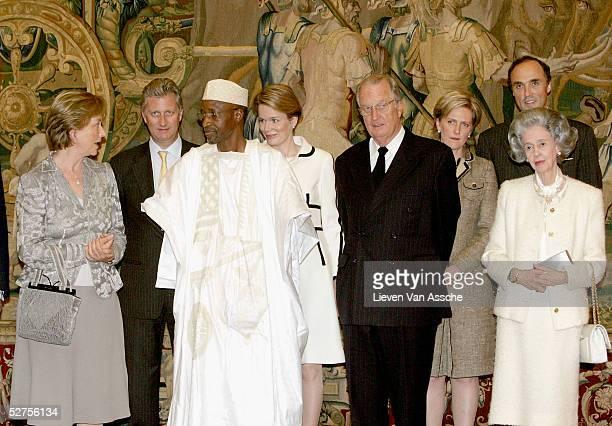 Queen Paola of Belgium Prince Philippe of Belgium Ousmane Sy Princess Mathilde of Belgium King Albert II of Belgium Princess Astrid of Belgium Prince...