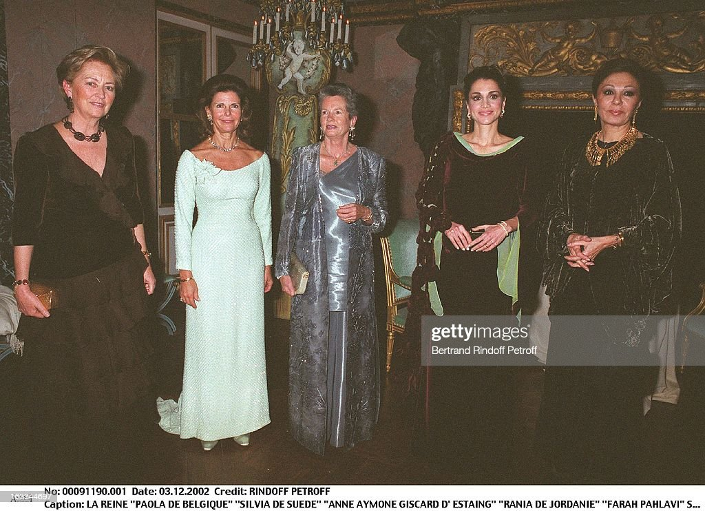 Queen 'Paola of Belgium' 'Silvia of Sweden' 'Anne Aymone Giscard D' Estaing' 'Rania of Jordan' 'Farah Pahlavi' party of the 25th anniversary of the foundation for childhood (Fondation pour l'enfance) at the 'Chateau de Versailles'. (Photo by Bertrand Rin