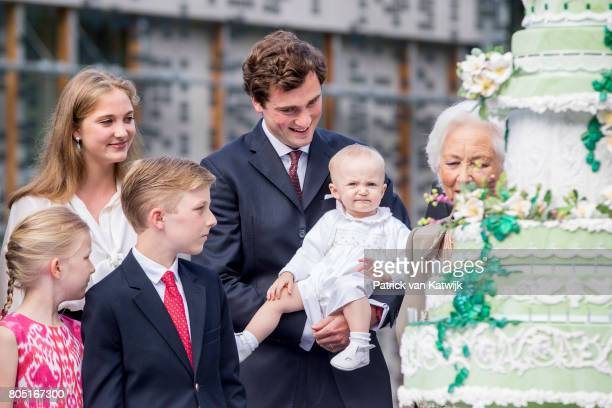 Queen Paola Prince Amedeo Anna Astrid Prince Gabriel Princess Eleonore and Princess Luisa Maria of Belgium attend the 80th birthday celebrations of...