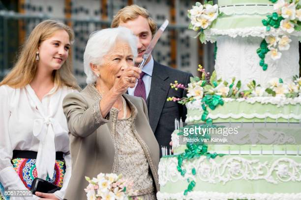 Queen Paola Prince Joachim and princess Luisa Maria of Belgium attend the 80th birthday celebrations of Belgian Queen Paola on June 29 2017 in...