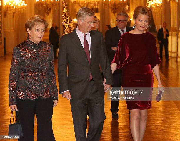Queen Paola Prince Philippe and Princess Mathilde of Belgium attend the Christmas Celebration at Palais de Bruxelles on December 19 2012 in Brussel...