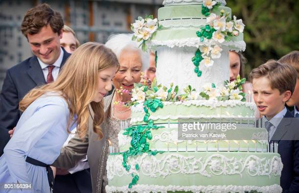 Queen Paola Princess Elisabeth Prince Amedeo and Prince America of Belgium attend the 80th birthday celebrations of Belgian Queen Paola on June 29...