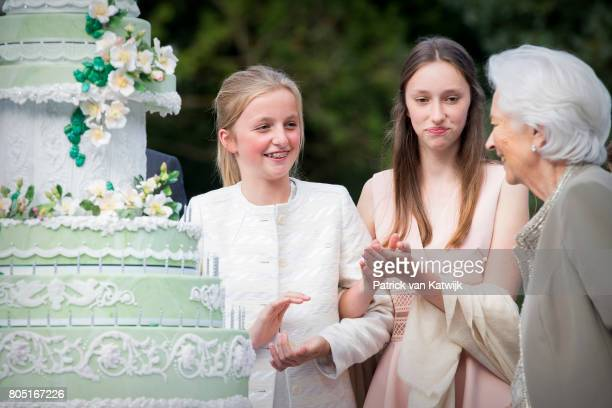 Queen Paola Princess Laetitia Maria and Princess Louise of Belgium attend the 80th birthday celebrations of Belgian Queen Paola on June 29 2017 in...