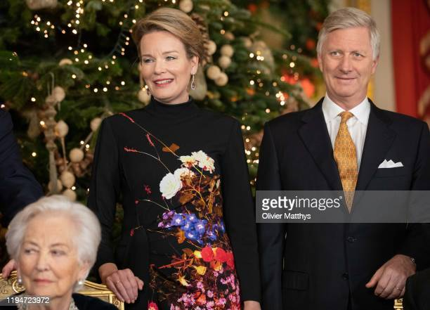 Queen Paola Queen Mathilde and King Philippe of Belgium attend the Christmas Concert at the Royal Palace on December 18 2019 in Brussels Belgium