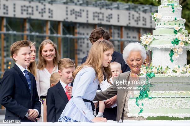 Queen Paola with her grand children Crown Princess Elisabeth, Prince Gabriel, Prince Emmanuel, Princess Eleonore, Prince Amedeo with his wife Lili...
