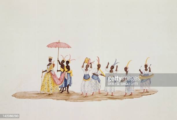 Queen parade followed by musicians and dancers by C Juliao Brazil 18th Century Watercolour