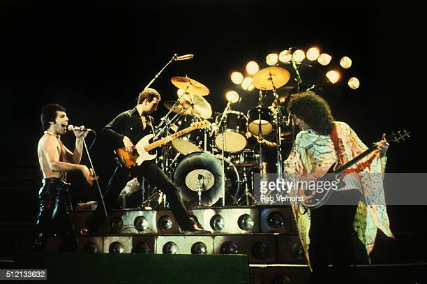 Queen perform on stage at Ahoy Rotterdam Netherlands 29th January 1979 LR Freddie Mercury John Deacon Brian May