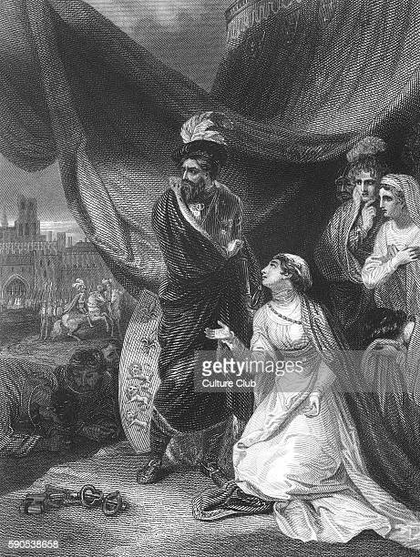 Queen Philippa on her knees before King Edward III in the royal tent outside the city of Calais France The city had been reduced to surrender by...