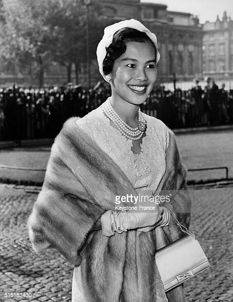 Queen Queen Sirikit Kitiyakara Of Thailand at Westminster Abbey in London, United Kingdom, on July 19, 1960 - King Bhumibol Adulyadej of Thailand and...