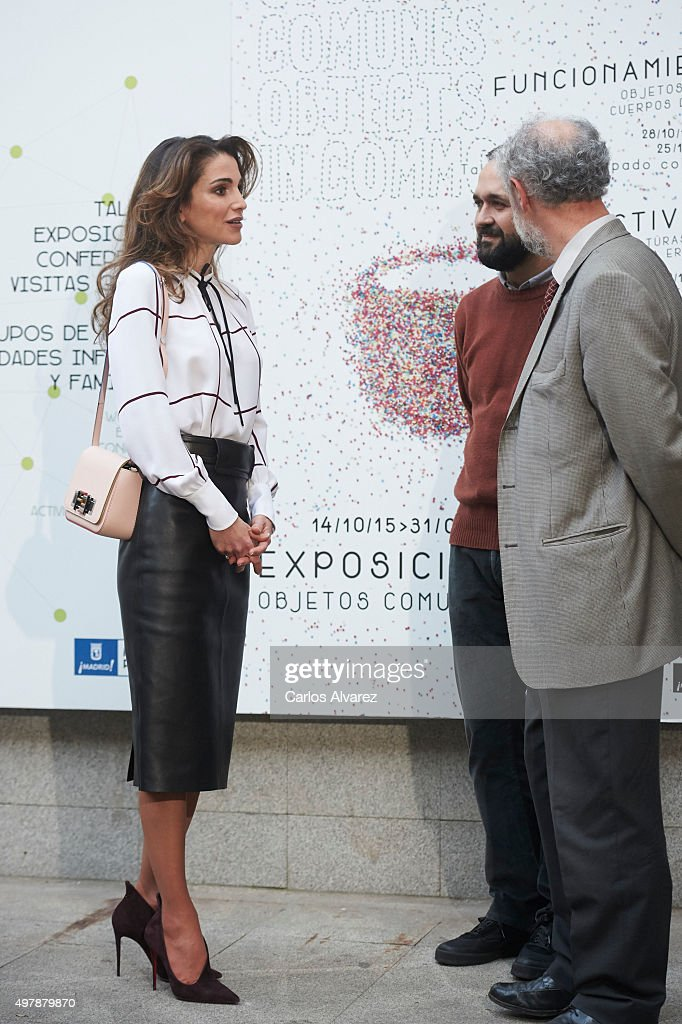 Queen Rania Abdullah of Jordan visits the Prado Media Lab cultural center on November 19, 2015 in Madrid, Spain.