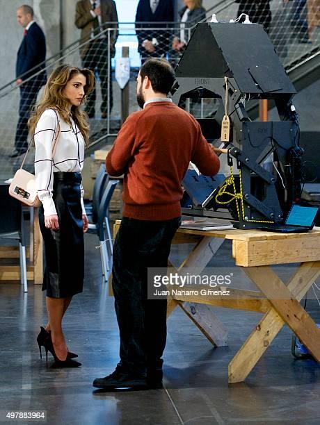 Queen Rania Abdullah of Jordan visits the Prado Media Lab cultural center on November 19, 2015 in Madrid, Spain.
