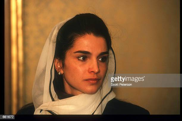 Queen Rania accepts condolences after the death of her fatherinlaw King Hussein February 9 1999 in Amman Jordan Her husband King Abdullah became heir...