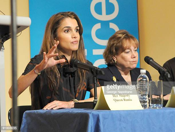 Queen Rania Al Abdullah and UNICEF Executive Director Ann M Veneman visit The Young Women's Leadership School East Harlem on September 21 2009 in New...