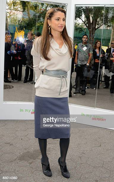 """Queen Rania Al Abdullah attends the Global Call to Action Against Poverty's """"In My Name"""" campaign launch at the Dag Hammerskjold Plaza on September..."""
