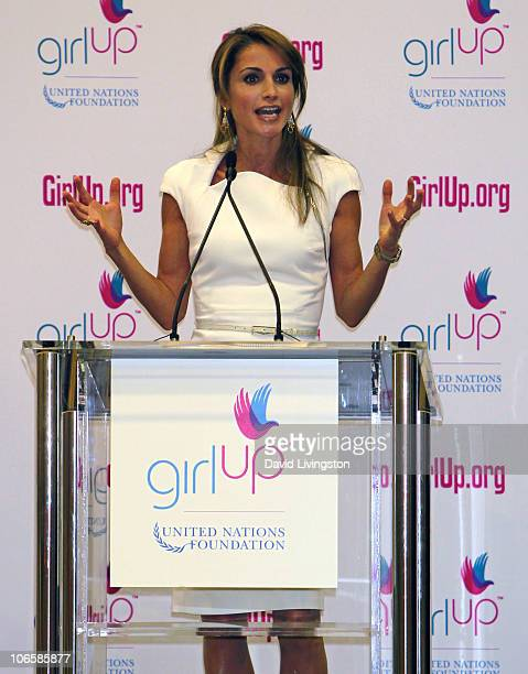 Queen Rania Al Abdullah of Jordan attends a pep rally for the 'Girl Up' United Nations Foundation Campaign at Marlborough School on November 5 2010...