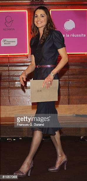 Queen Rania Al Abdullah of Jordan delivers a speech during day three of the Cite de la Reussite April 6, 2008 at the Sorbonne in Paris, France.